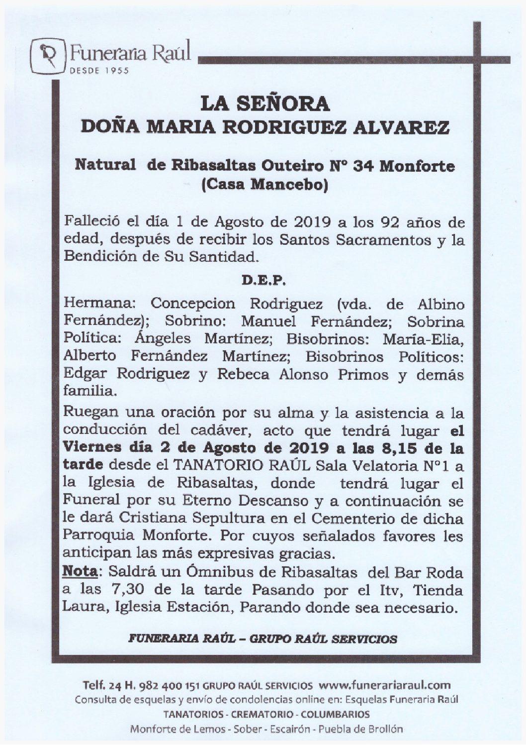 DOÑA MARIA RODRIGUEZ ALVAREZ