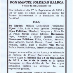PRIMER ANIVERSARIO DE DON MANUEL IGLESIAS BALBOA
