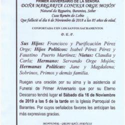 PRIMER ANIVERSARIO DE DOÑA MARGARITA LONCESA ORGE MOJON