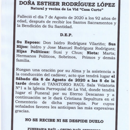 DOÑA ESTHER RODRIGUEZ LOPEZ