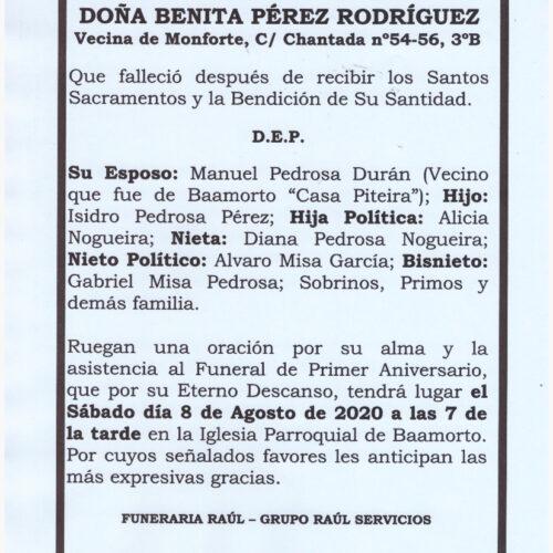 PRIMER ANIVERSARIO DE DOÑA BENITA PEREZ RODRIGUEZ