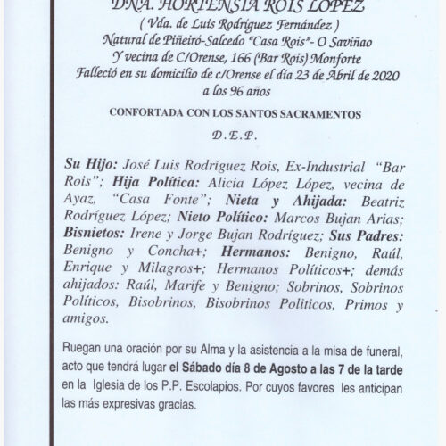 DOÑA HORTENSIA ROIS LOPEZ