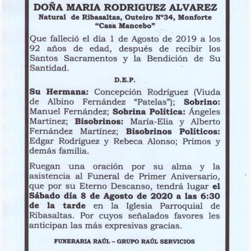 PRIMER ANIVERSARIO DE DOÑA MARIA RODRIGUEZ ALVAREZ
