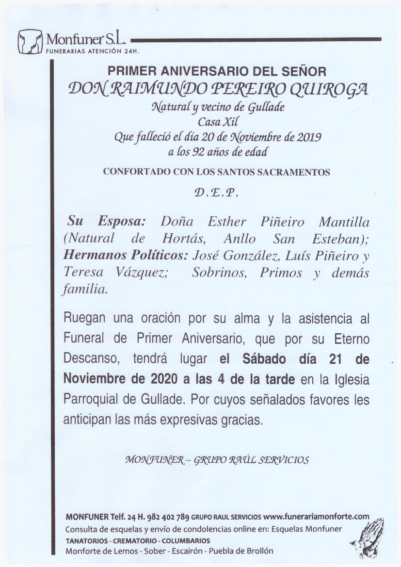 PRIMER ANIVERSARIO DE DON RAIMUNDO PEREIRO QUIROGA