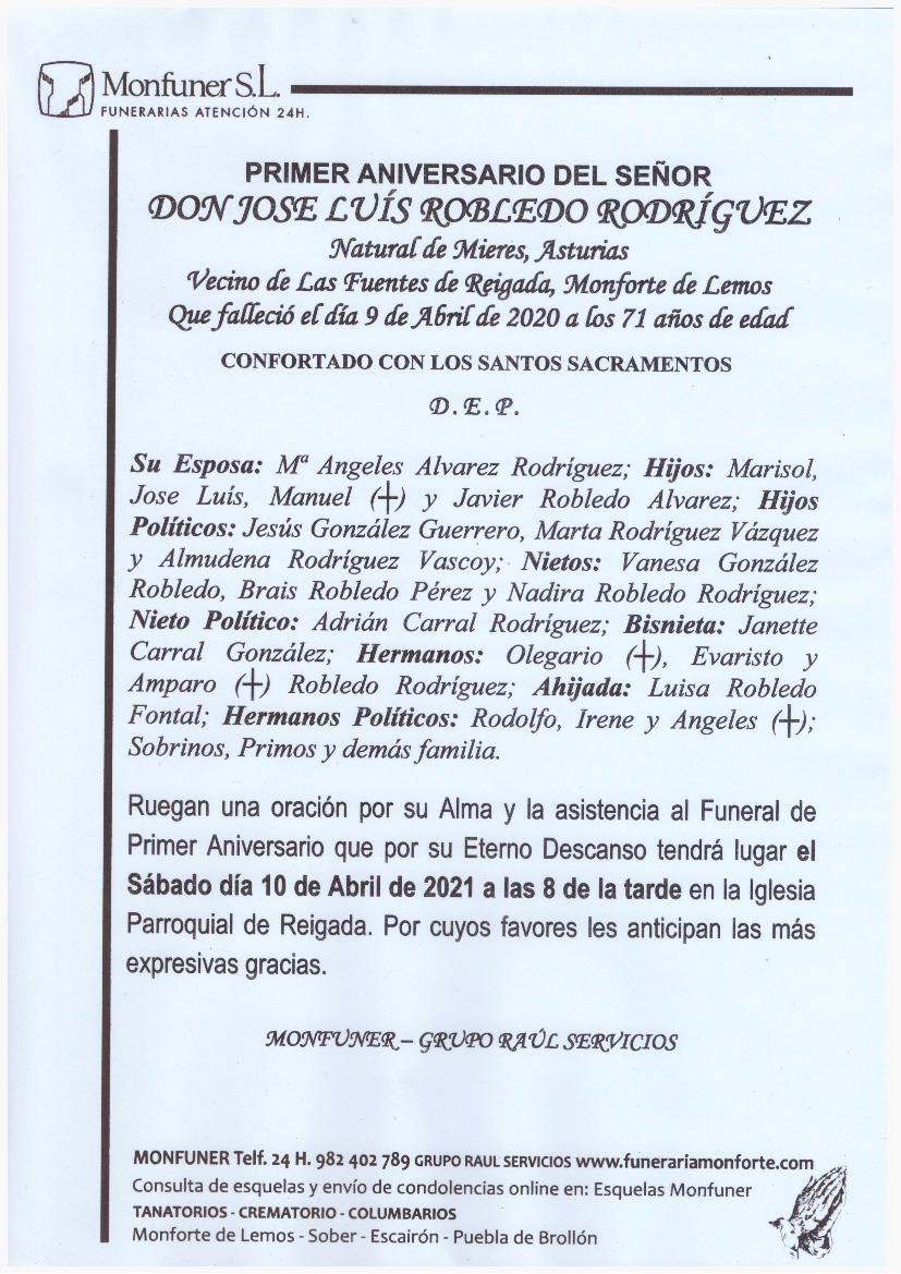 PRIMER ANIVERSARIO DE DON JOSE LUIS ROBLEDO RODRIGUEZ