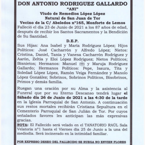 EL SEÑOR DON ANTONIO RODRIGUEZ GALLARDO