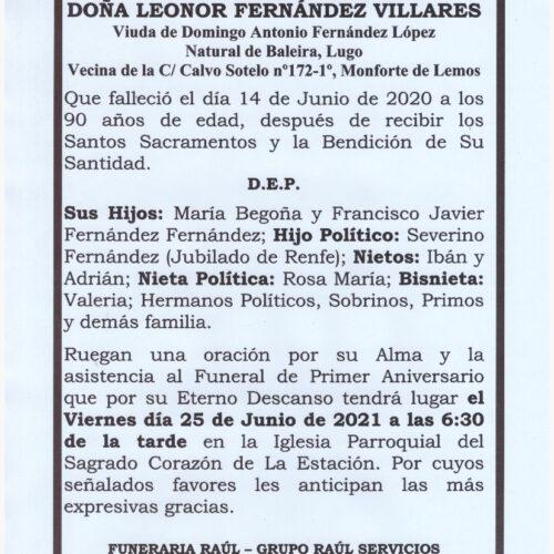 PRIMER ANIVERSARIO DE DOÑA LEONOR FERNANDEZ VILLARES