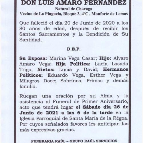 PRIMER ANIVERSARIO DE DON LUIS AMARO FERNANDEZ