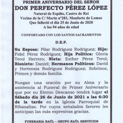 PRIMER ANIVERSARIO DE DON PERFECTO PEREZ LOPEZ