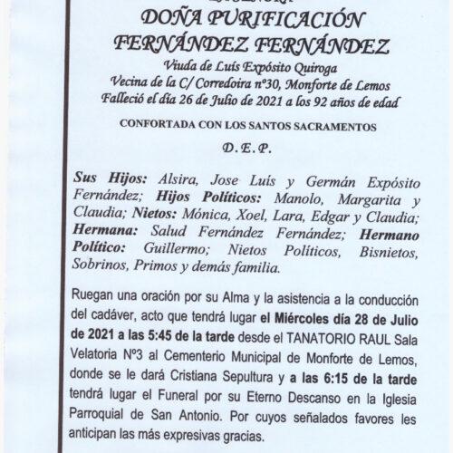 DOÑA PURIFICACION FERNANDEZ FERNANDEZ